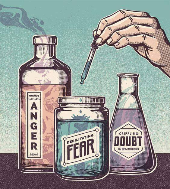 anger, fear, doubt