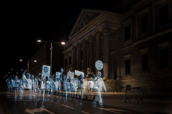 First Hologram Protest in History Held Against #Spain's Gag Law