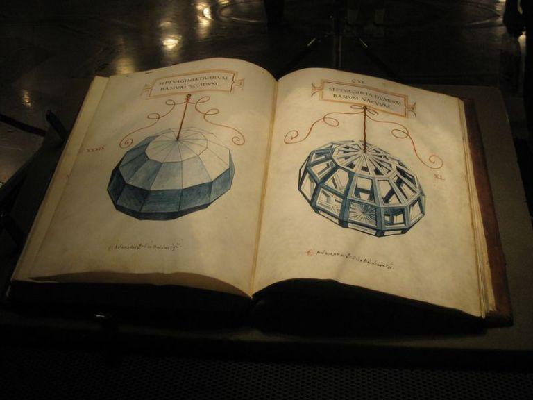 Luca Pacioli's 1509 Treatise, De Divina Proportione with sketch of polyhedra by Leonardo da Vinci. On exhibit in Mlan, Italy.